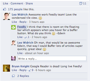 Feedly Replies