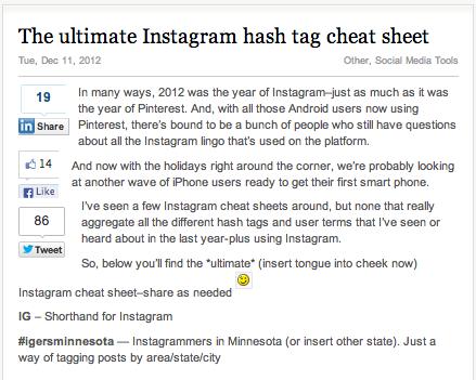 IG Cheat Sheet
