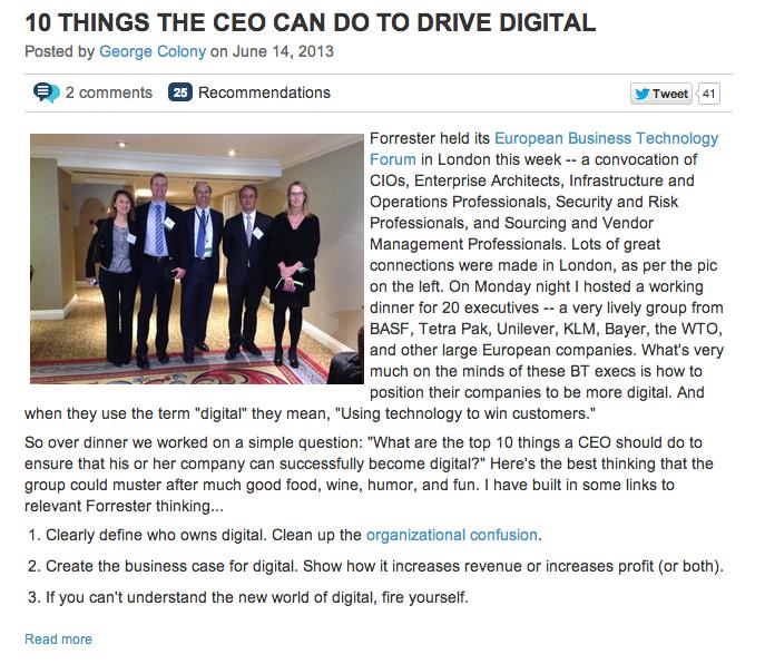 Forrester CEO blog